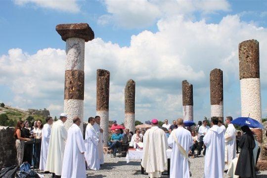 Roman Catholic Mass served on the grounds of the Orthodox Church of St. Nicholas in Novo Brdo