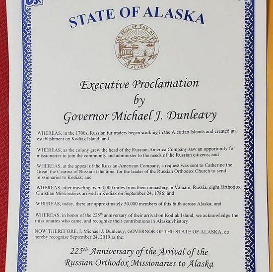 Commémoration du 225ème anniversaire de l'arrivée des missionnaires orthodoxes en Alaska