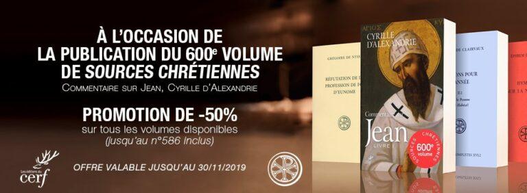 Une promotion de 50% pour les ouvrages de la collection «Sources chrétiennes»