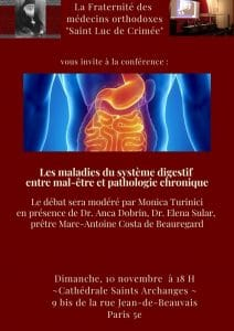 Vidéo : la conférence organisée par la Fraternité des médecins orthodoxes Saint-Luc de Crimée sur «Les maladies du système digestif entre mal-être et pathologie chronique»