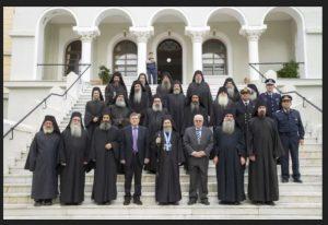 Réception officielle du nouveau gouverneur civil du Mont Athos à la Sainte-Communauté à Karyès