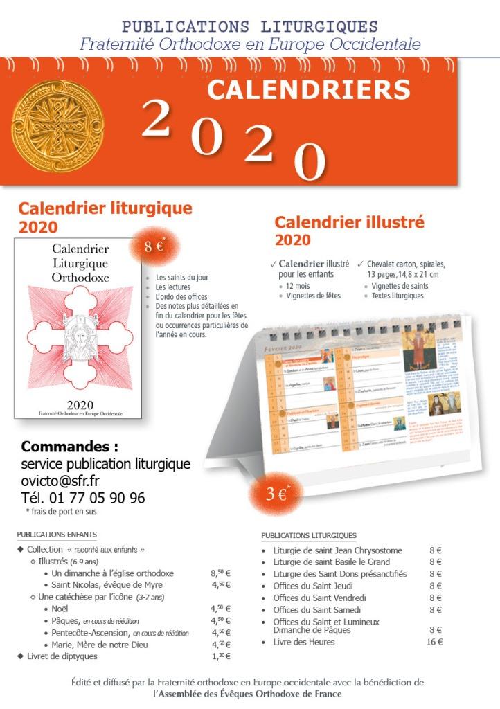 Le calendrier liturgique 2020 de la Fraternité orthodoxe en Europe occidentale