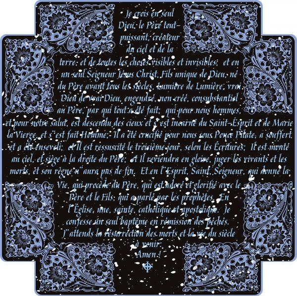 Chemise à manches longues pour homme : Crédo Nicée-Constantinople en français (bleue en noir)