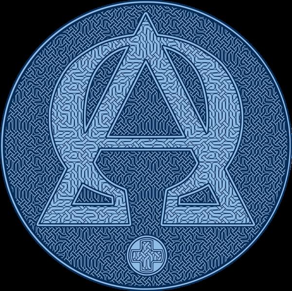 Housse pour ordinateur portable : Alpha et Omega, version bleue