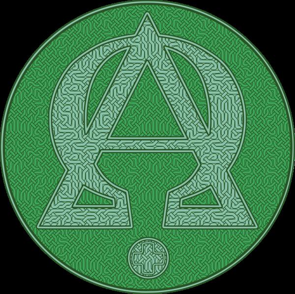 Housse pour ordinateur portable : Alpha et Omega, version verte