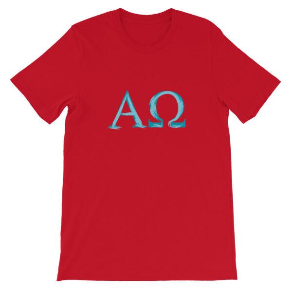 Privé: T-shirt unisexe à manches courtes : Alpha et Omega, peinture aérosol bleu