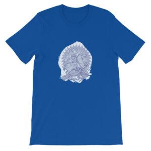 Privé: T-shirt unisexe à manches courtes : Saint Georges le Tropéophore (bleue)