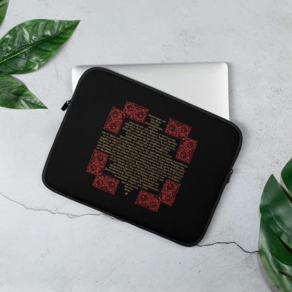 Privé: Housse pour ordinateur portable : Crédo Nicée-Constantinople en grec (or et rouge en noir)