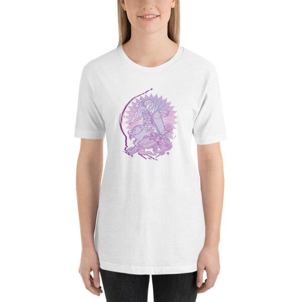 Privé: T-shirt unisexe à manches courtes : Saint Georges le Tropéophore (lilas)