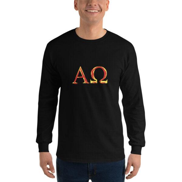 Privé: Chemise à manches longues pour homme : Alpha et Omega, peinture aérosol rouge