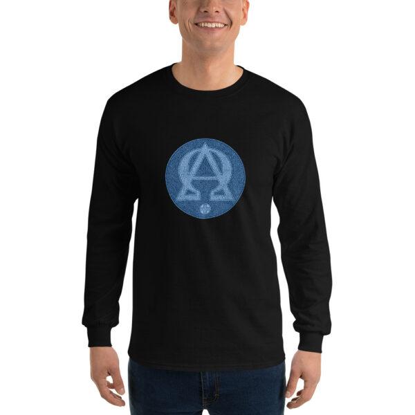 Privé: Chemise à manches longues pour homme : Alpha et Omega, version bleue