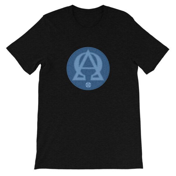 T-shirt unisexe à manches courtes : Alpha et Omega, version bleue