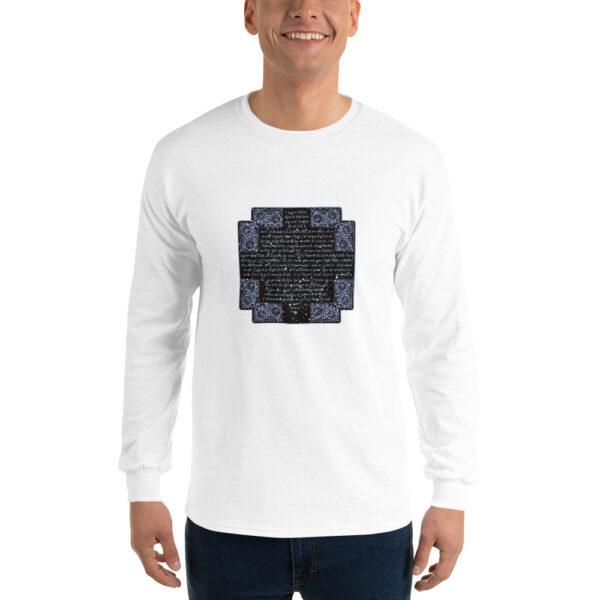 Privé: Chemise à manches longues pour homme : Crédo Nicée-Constantinople en français (bleue en noir)