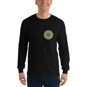 Privé: Chemise à manches longues pour homme : Prière de Jésus en slavon, version verte