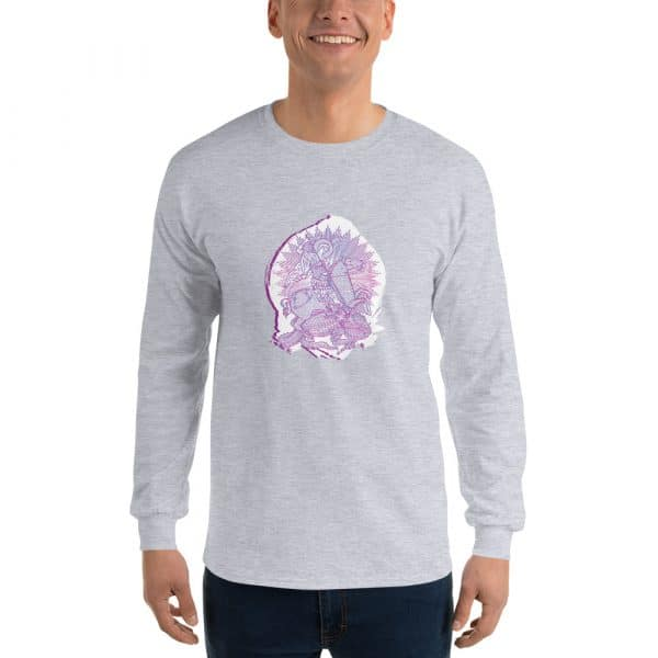 Privé: Chemise à manches longues pour homme : Saint Georges le Tropéophore (lilas)