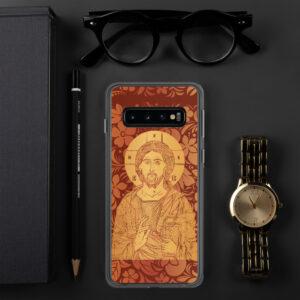 Coque de Samsung : Christ Sauveur et source de Vie, version rouge