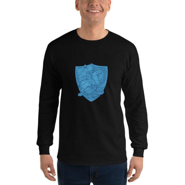Privé: Chemise à manches longues pour homme : Saint Georges le Tropéophore (blason bleu)