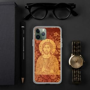 Coque d'iPhone : Christ Sauveur et source de Vie, version rouge