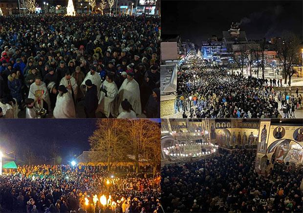 Des dizaines de milliers de Monténégrins ont remplacé les réjouissances du Nouvel An par des processions pour la défense de leur Église