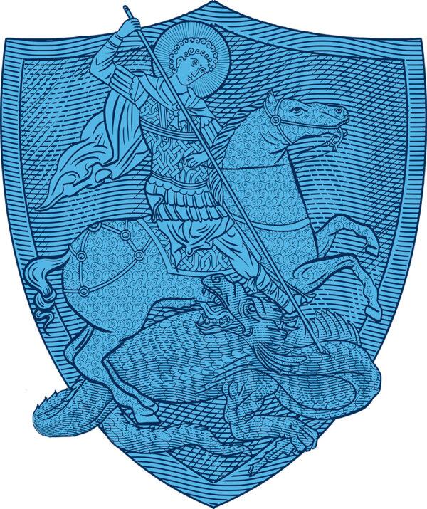 T-shirt en coton mélangé : Saint Georges le Tropéophore (blason bleu)