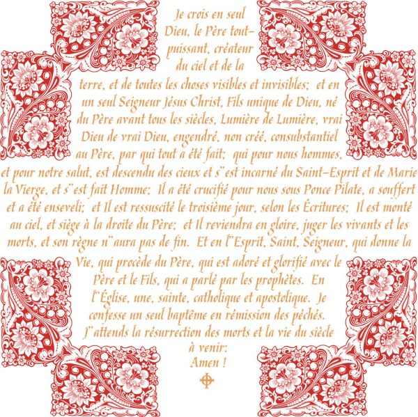 Chemise à manches longues pour homme : Crédo Nicée-Constantinople en français (or et rouge)