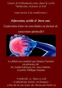 Report de la conférence : «Dépression, acédie et burn-out, l'expression d'une vie sans limites ou facteur de conversion spirituelle ?»