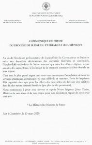 Annulation de tous les offices religieux au sein du diocèse de Suisse du Patriarcat oecuménique