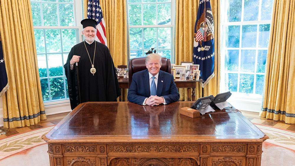 Rencontre de l'archevêque d'Amérique avec le président Trump et le vice-président Pence