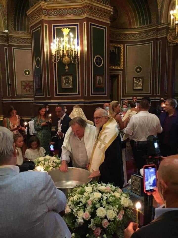 Baptême de l'acteur Gérard Depardieu à la cathédrale Saint-Alexandre-Nevsky à Paris