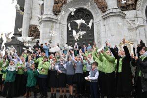 La fête de l'Annonciation à la cathédrale du Christ Sauveur à Moscou