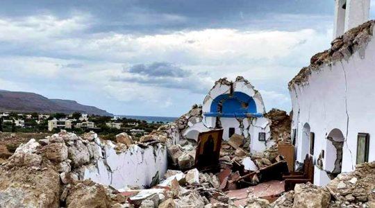 Une chapelle s'est effondrée lors du dernier séisme en Crète